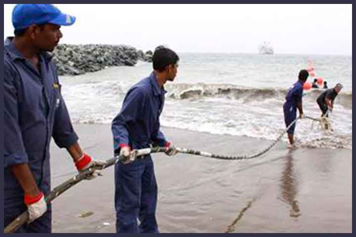 Submarine cable work.