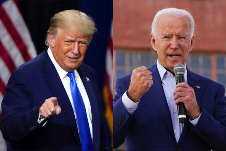 Trump and Biden in a tough battle to win in the swinging states