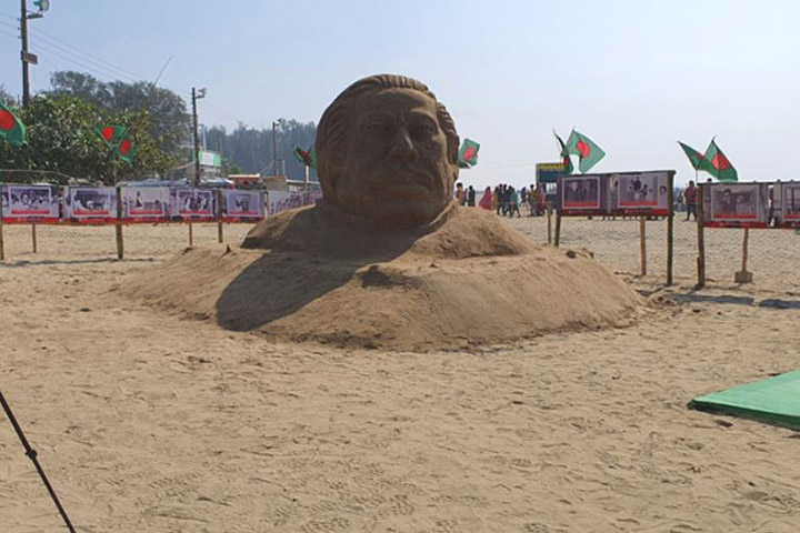 Sand sculpture of Bangabandhu on Cox's Bazar beach,